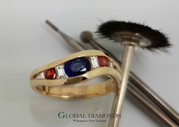 9ct Yellow Gold Blue and Orange Sapphire Ring with Diamonds