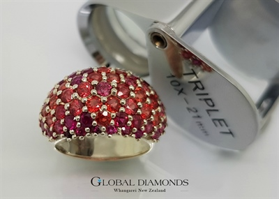 9ct White Gold Ruby and Sapphire Dome Ring