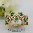 14ct Yellow Gold Ring With Emerald and Diamond