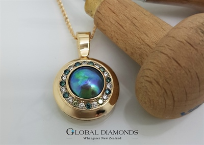 9ct Yellow Gold Blue Pearl and Diamond Pendant
