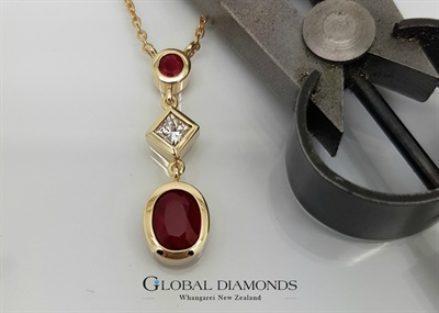 9ct Yellow Gold Ruby and Diamond Pendant