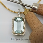 9ct Two Tone Gold Aquamarine and Diamond Pendant