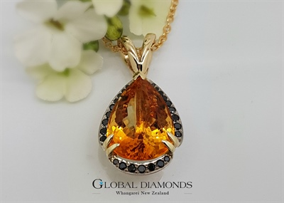 9ct Yellow Gold Citrine and Black Diamond Pendant
