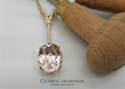 9ct Two Tone Morganite Pendant