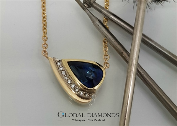 9ct Two tone Sapphire and Diamond Pendant