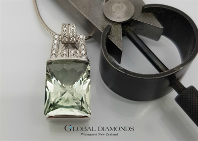 9ct White Gold Green Amethyst Pendant