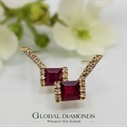 9ct Yellow Gold Ruby and Diamond Earrings