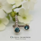 9ct White Gold Natural Blue Zircon Earrings