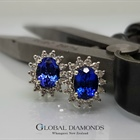 18ct White Gold Tanzanite Cluster Earrings