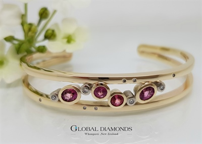 9ct Yellow Gold Cuff Bangle with Fancy Pink Sapphire