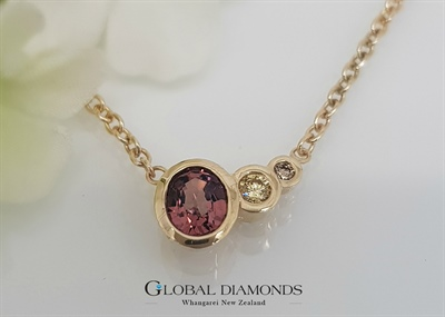 9ct Yellow Gold Natural Spinel and Diamond Necklace