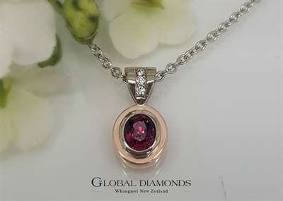 9ct White and Rose Gold Raspberry Spinel and Diamond Pendant