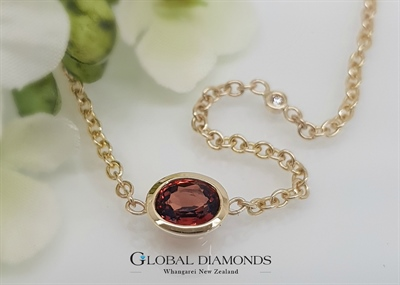 9ct Yellow Gold Orange Spinel and White Diamond Necklace