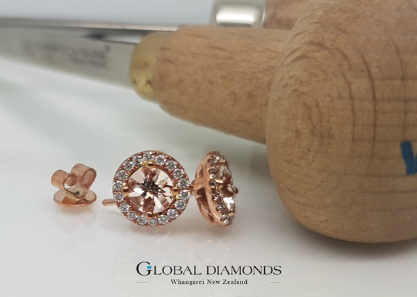 9ct Rose Gold Morganite and Diamond Earrings