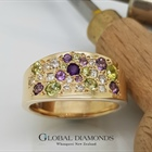 9ct Yellow Gold Peridot Amethyst and Diamond ring