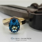 9ct Yellow and White Gold Swiss Blue Topaz Ring