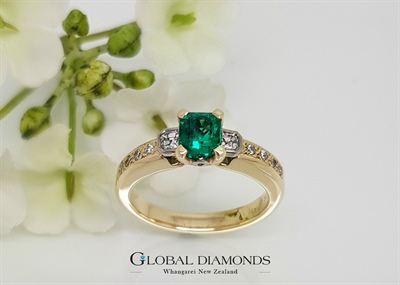 9ct Yellow and White gold Emerald and Diamond Ring
