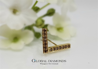 9ct yellow gold champagne diamond bar studs