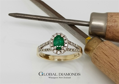 9ct Yellow Gold Diamond and Emerald Ring