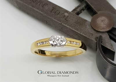 18ct Yellow and White Gold Semi Rub Diamond Ring