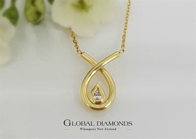 9ct Yellow Gold Diamond Pear Shape Necklace