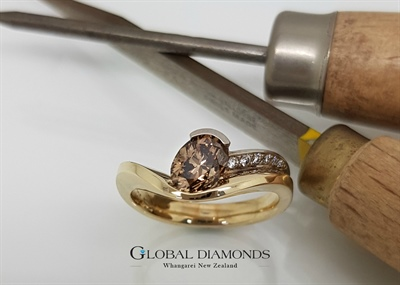 9ct Yellow And White Gold Oval Cognac Diamond Ring