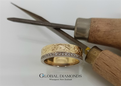 9ct Two Tone Diamond Engraved Band