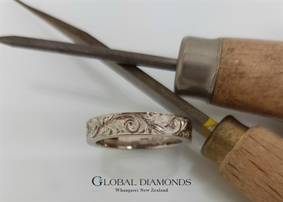 9ct White Gold Hand Engraved Band