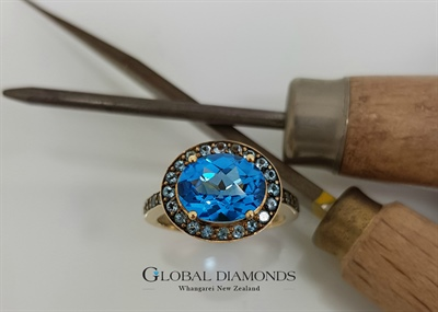 Blue Topaz Yellow Gold Ring