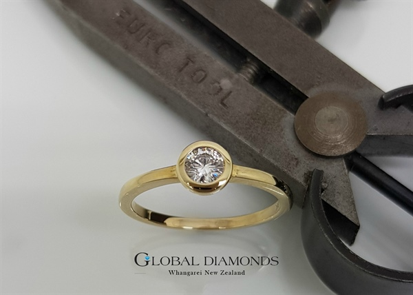 9ct Yellow Gold Diamond Rub Over Solitaire