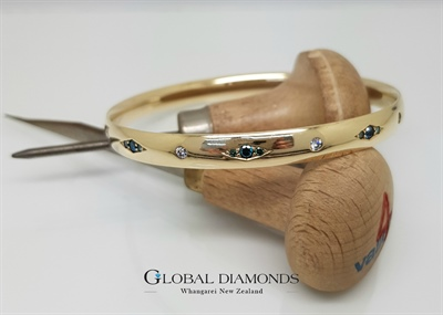 9ct Diamond Set Slave Bangle