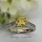 18ct White Gold Natural Fancy Yellow Diamond Ring