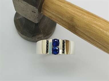 9ct White Gold sapphire and Black Diamond Ring