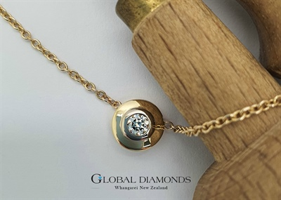 9ct Yellow and White gold Full Rubset Diamond Necklace