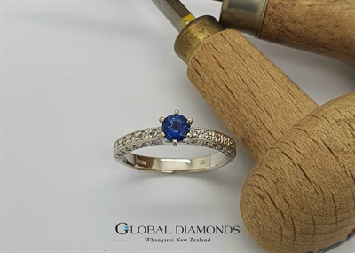 18ct White Gold Claw Set Sapphire and Diamond Ring