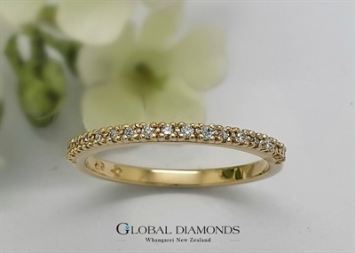 9ct Yellow Gold Claw Set Diamond Band
