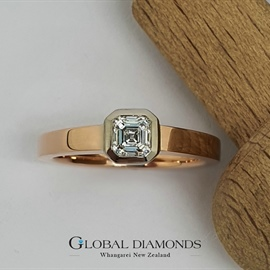18ct Rose and White Gold Asscher Cut Diamond Ring