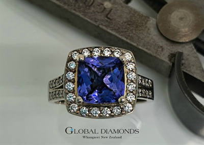 9ct White Gold Cushion Cut Tanzanite And Diamond Ring
