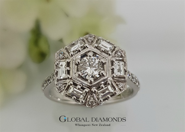 18ct White Gold Diamond Hexagon Cluster Ring