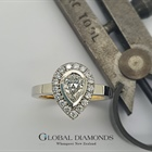 Platinum and 18ct Yellow gold Pear Shaped Diamond Halo Ring