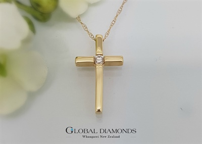 18ct Yellow Gold Diamond Set Cross Pendant