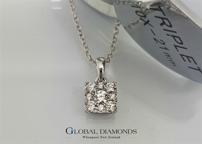 9ct White Gold Square Diamond Set Pendant
