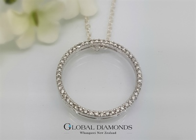 10ct White Gold Diamond Set Circle Slider Pendant