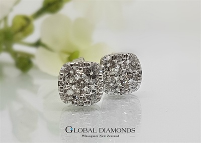 9ct White Gold Cushion Shaped Diamond Cluster Earrings