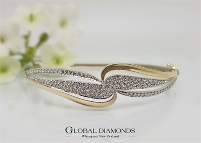 18ct Two Tone Pavé Set Diamond Bangle