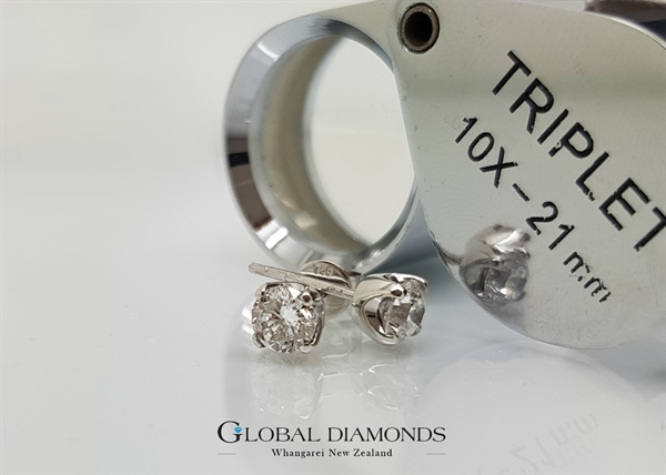 18ct White Gold Four Claw Diamond Stud Earrings