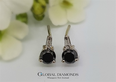 9ct White Gold Earrings with Black and White Diamonds