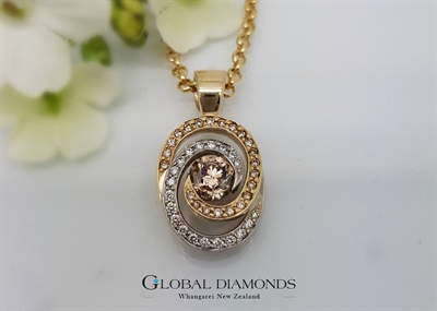 9ct Two Tone Champagne Diamond Pendant