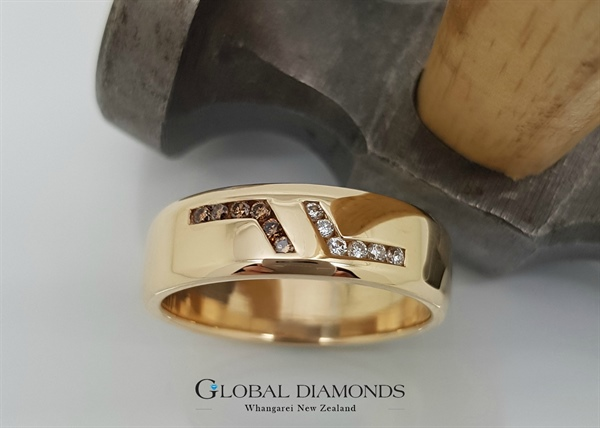 9ct Yellow Gold Cognac and White Diamond Ring
