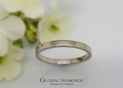 9ct White Gold Square Edged Ring